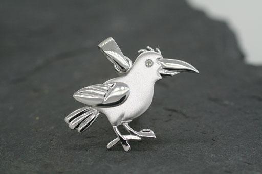 Anhänger in Form eines Vogels aus Weißgold