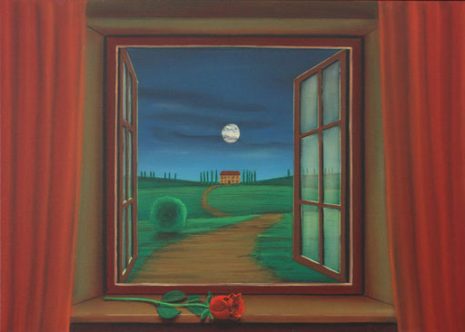 #Klassische_ Malerei#Lasurmalerei#Blick_nach_draußen# Mond#rote_Rose#Toscana#Italien#Thomas#Klee