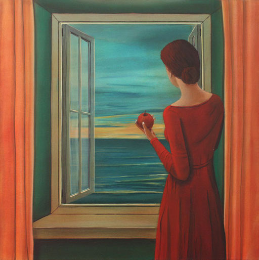 #Klassische_ Malerei#Lasurmalerei#Blick_auf_das_Meer#rotes_Kleid#Apfel#Fenster#Meer#Frau_am_Fenster#Thomas#Klee