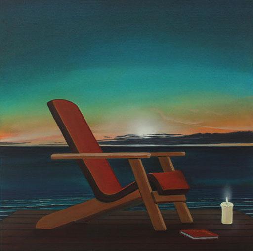 #Klassische_ Malerei#Lasurmalerei#Liegestuhl#Kerze#Meer#Sonnenuntergang#Thomas#Klee