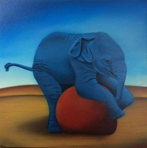 #Klassische_ Malerei#Lasurmalerei#Der_blaue_Elefant#Elefant#Roter_Ball#Thomas#Klee