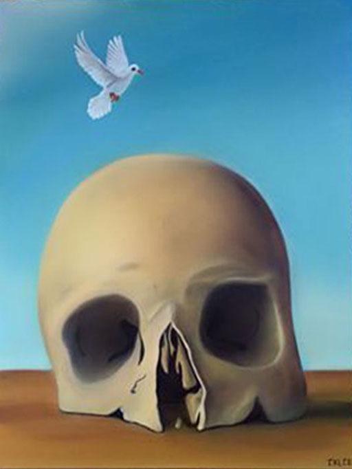 #Klassische_ Malerei#Lasurmalerei#Der_Tod#Totenkopf#Friedenstaube#Thomas#Klee