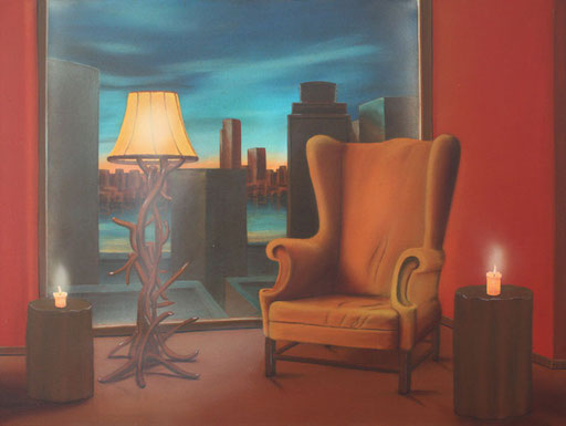 #Klassische_ Malerei#Lasurmalerei#New_York#Manhattan#Fauteuil#Ohrensessel#Stehlampe#Kerzen#Amerika#Thomas#Klee