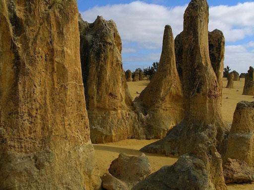 Die Pinnacles sind vor rund 150 000-80 000 Jahren entstanden. Es führt ein 5 km langer Rundweg durch diese eindrucksvolle Wüstenlandschaft.