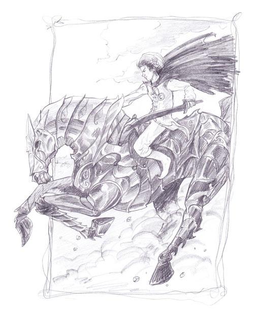 Bastian auf einem Metallross von Xayides schwarzen Wächtern