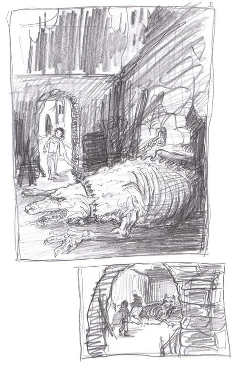 Gmork, der Werwolf - halb verhungert - und Atréju