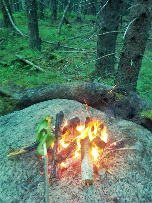 eine Paprika wird für das Aroma am offenen Feuer gegrillt