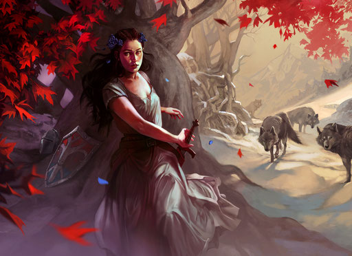 """""""A Time for Wolves"""" (A Song of Ice and Fire, tournament card illustration)"""