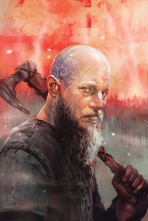 """Ragnar Lothbrok"" - Variant cover for Vikings: Uprising #2 by Titan Comics. © 2016 Metro-Goldwyn-Mayer Studios Inc. All Rights Reserved."