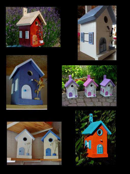 Nestkastjes, vogelhuisjes gekleurd collage_3