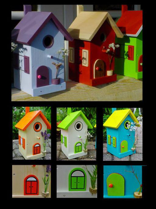 Nestkastjes, vogelhuisjes gekleurd collage_4