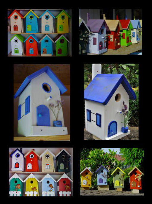 Nestkastjes, vogelhuisjes gekleurd collage_2