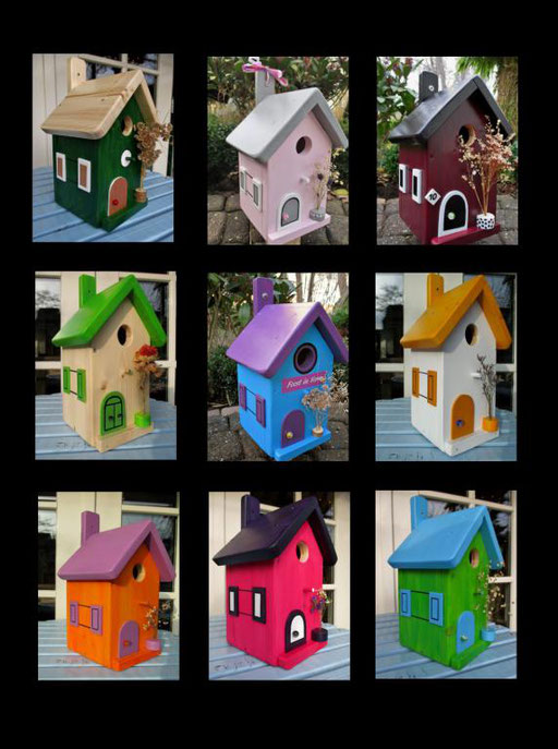 Nestkastjes, vogelhuisjes gekleurd collage_8
