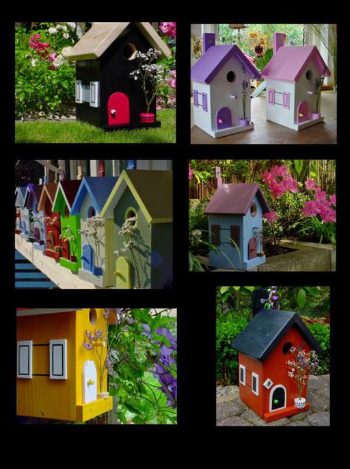 Nestkastjes, vogelhuisjes gekleurd collage_1