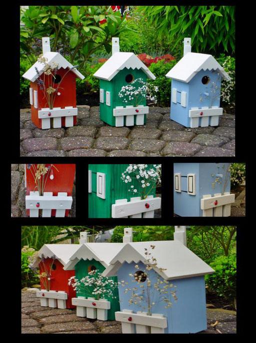 Nestkastjes, vogelhuisjes gekleurd collage_6