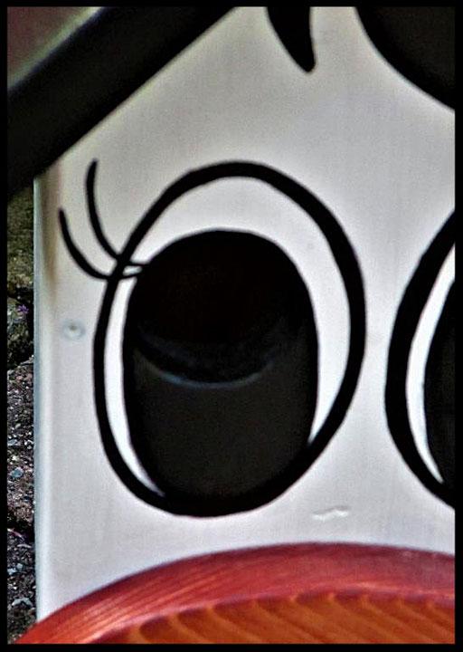 Detail Nestkastje in vorm van Koe, oog