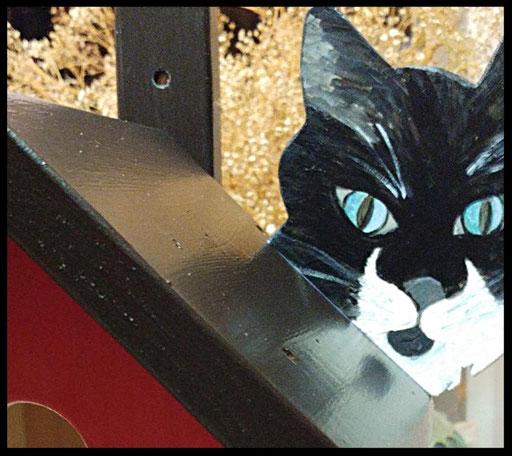 Nestkastje Kat - zwart,detail,vogelhuisjes en nestkastjes met toevoegingen
