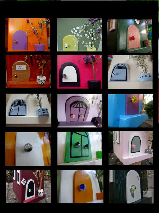 Nestkastjes, vogelhuisjes gekleurd collage_7