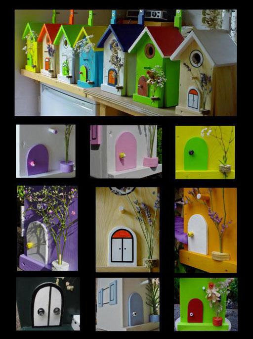Nestkastjes, vogelhuisjes gekleurd collage_5
