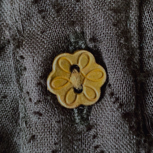 Old Silver Buttons on Black Tiger Natural Cotton