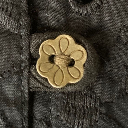 Old Silver Buttons on Black Magic Embroidered Cotton