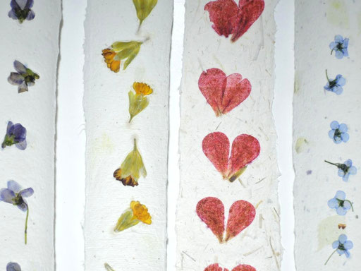 Handgeschöpfte Lesezeichen aus Papier mit Pelargonie, Veilchen, Vergissmeinnicht, Primel, Michela Metzler, Mattsee, Österreich