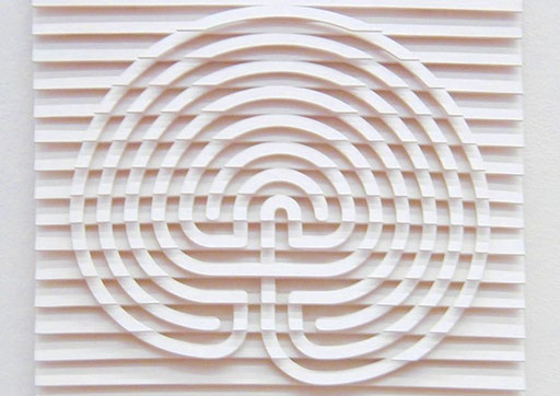 LabyBild / PAPIER-art ART-papier, Kunstbild aus lakiertem Sperrholz, weiß, Harald Metzler, Mattsee, Österreich