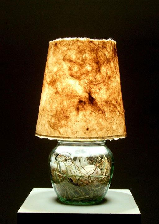 Schraubglas mit Osternest Schirm versch. Zellstoffarten