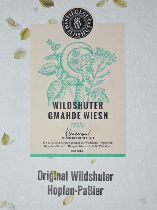 Hopfenpapier mit Wildshuter Etikette und Bleidruck