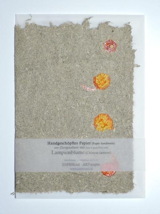 Gemüsekarte Lampionblume auf Ziergraspapier