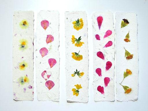 Handgeschöpfte Lesezeichen aus Papier mit Pelargonie, Hornklee, Sommerblüten, Primel, Michela Metzler, Mattsee, Österreich