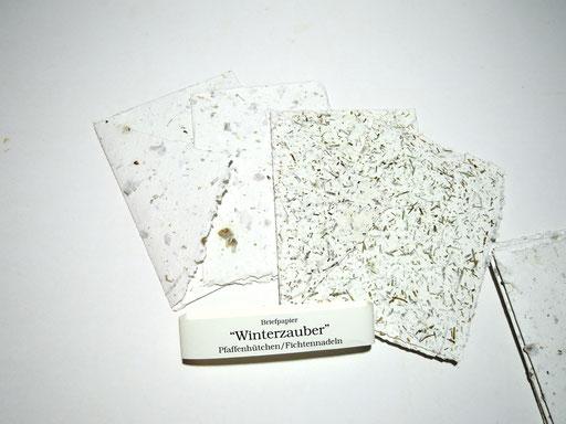 Briefpapier mit Pfaffenhütchen und Fichtennadeln