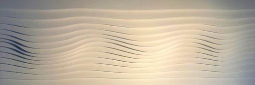 Welle II - 2015 / PAPIER-art ART-papier, Wandbild, Sperrholzschichten weiß lakiert, Kunstobjekt, Harald Metzler, Mattsee, Österreich