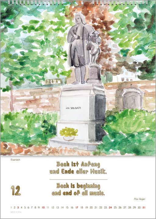 Bach Monuments and Bach Qutoes & Tributes ... Bach Calendars Are Music Calendars and Music Gifts.