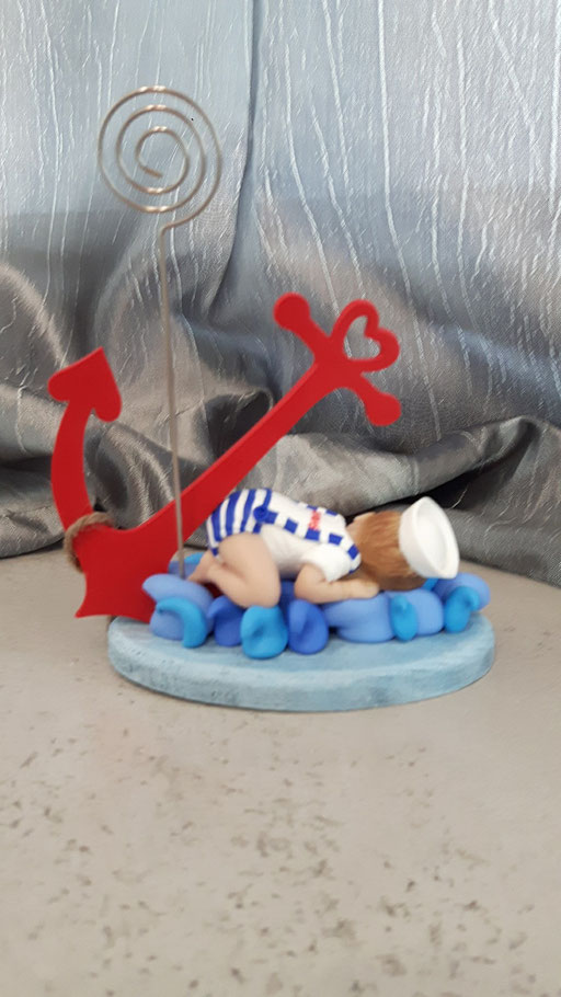 bomboniera cake topper battesimo marinaio neonato fimo