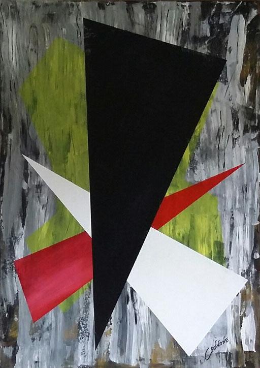 Trittico triangoli   -  tecnica mista su tela-  138x98x4    2014.        Francesco Cannone
