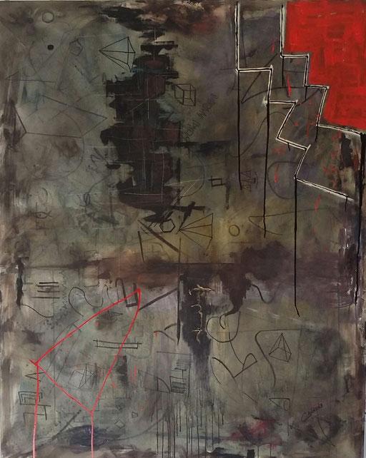 Mondi invisibili - Acrilico su tela 150x120x4                  Francesco Cannone