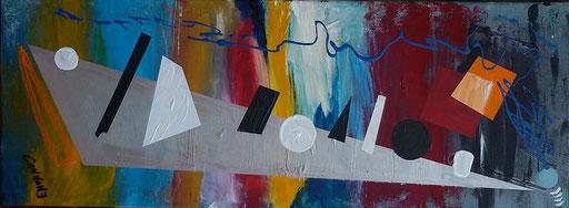 Suono, forme colori - acrilico su tela  80x30x2           Francesco Cannone