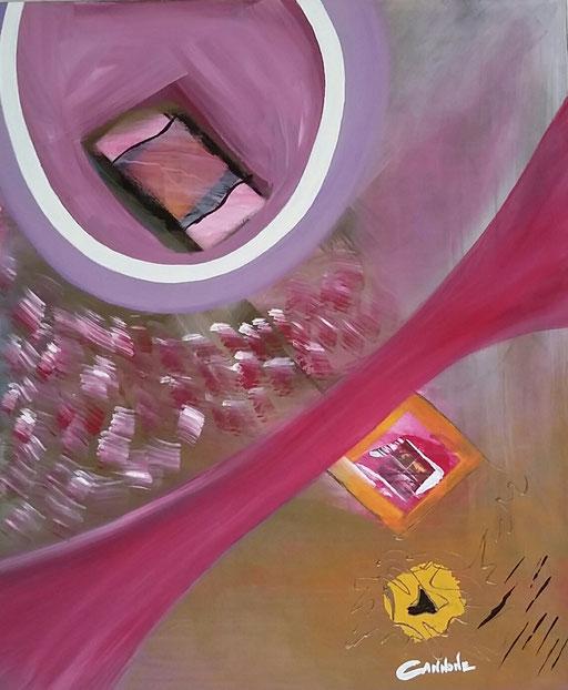Pensieri fuggenti -  Tecnica mista su tela 98x118x4             Francesco Cannone