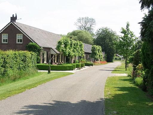 Schöne Häuser säumen den Weg