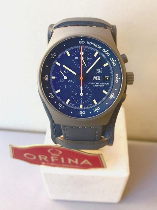 Orfina Porsche Design grau mit blauem Zifferblatt  Zivil Lemania 5100