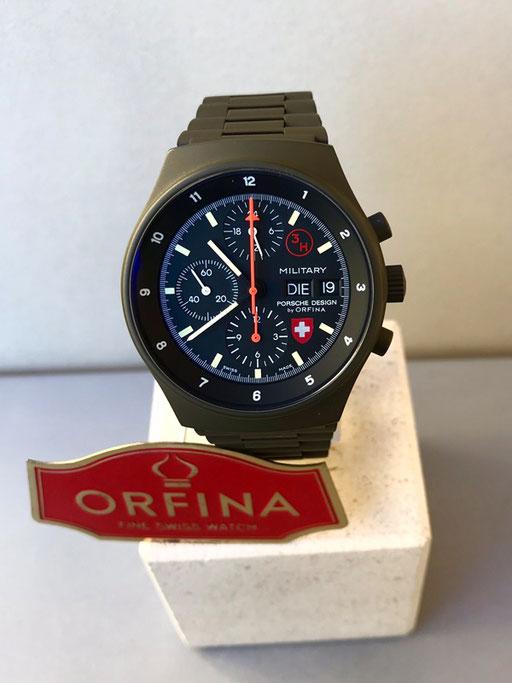Orfina Porsche Design grün Schweizer Militär Lemania 5100