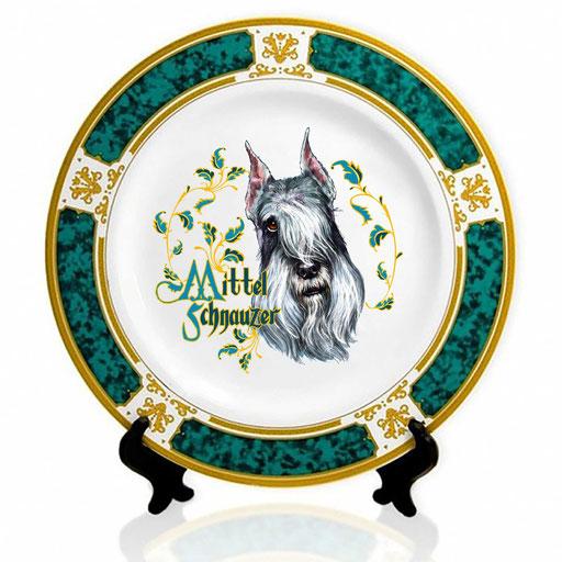 Сувенирная тарелка с изображением миттель-шнауцера.