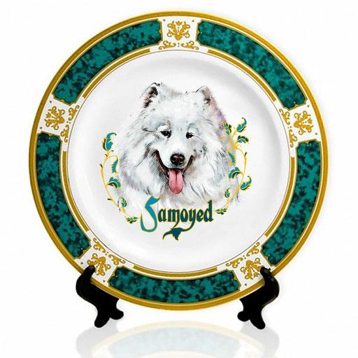 Сувенирная тарелка с изображением самоеда.