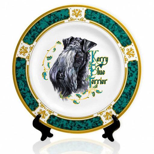 Сувенирная тарелка с изображением керри-блю-терьера.