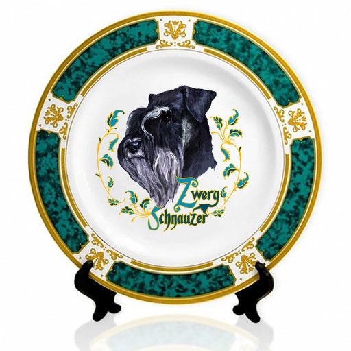 Сувенирная тарелка с изображением цверг-шнауцера.