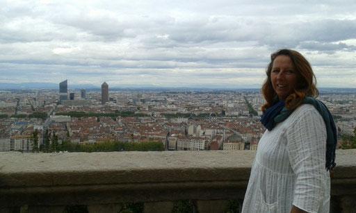 Blick von der Basilika in Lyon über das Stadtzentrum