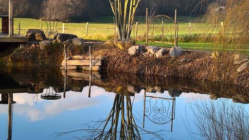 Windstille und ein absolut spiegelblanker Teich