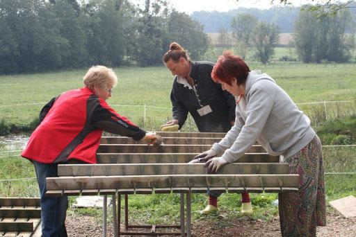Ich, Regine, Silvia und René streichen die Veranda mit Propolis-Lasur ein