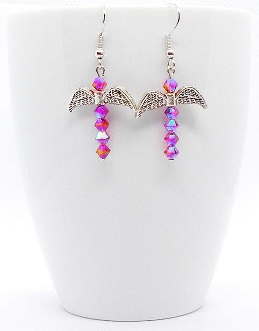 Ohrhänger Fledermaus pink glitzernd